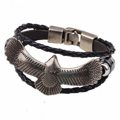 Bratara piele neagra amuleta vultur