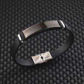 Bratara piele stainless steel neagra