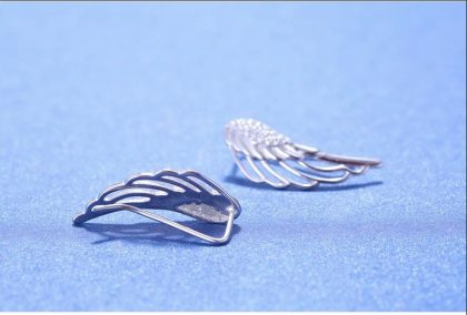 Cercei argint 925 aripa inger profil