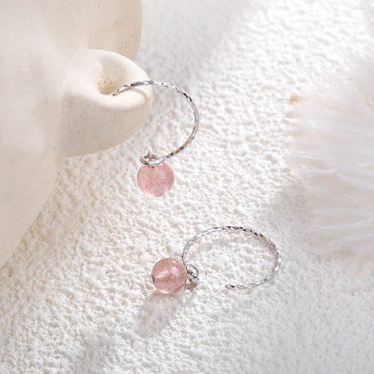 Cercei argint 925 cristale roz model