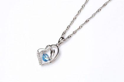 Colier argint 925 zirconiu albastru fata