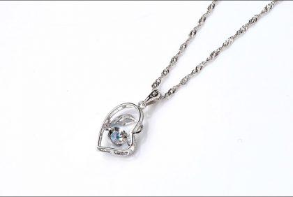 Colier argint 925 zirconiu albastru spate