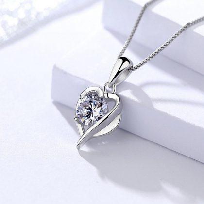 Colier pandantiv inimioara argint 925