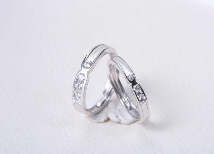 Inele cuplu argint 925 zirconiu fata