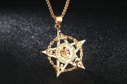 Lant placat aur pandantiv pentagrama fata