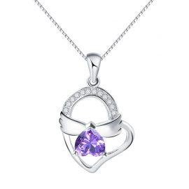 Lantisor cristal mov argint 925