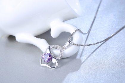 Lantisor cristal mov argint 925 sus
