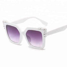 Ochelari de soare dama gradient rame albe