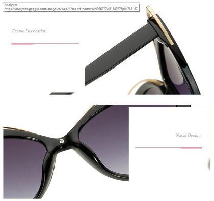 Ochelari de soare dama retro rame negre detalii