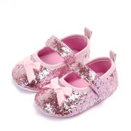 Pantofi paiete fetite roz 0-6 luni