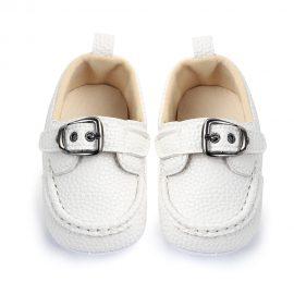 Pantofi piele moale albi 0-6 luni