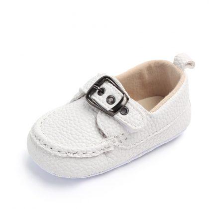 Pantofi piele moale albi 0-6 luni fata