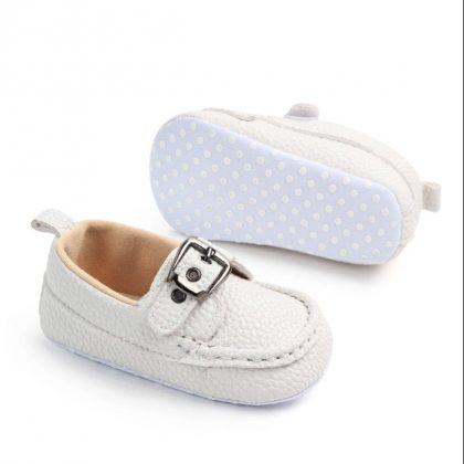 Pantofi piele moale albi 0-6 luni profil