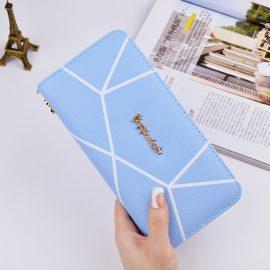 Portofel dama albastru imprimeu geometric