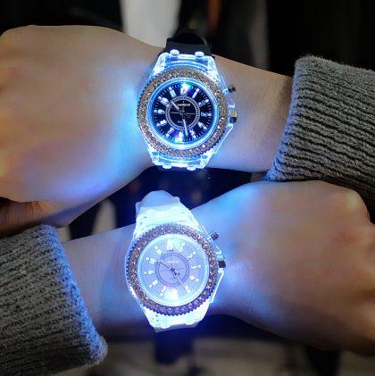 Ceasuri cuplu bratara silicon leduri