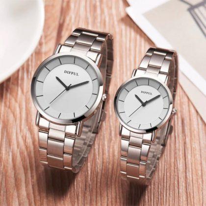 Ceasuri cuplu cadran alb Difful