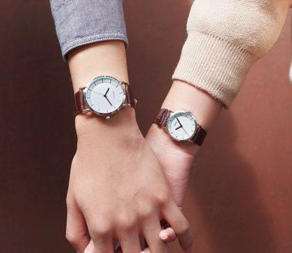 Ceasuri cuplu curea maro Difful model