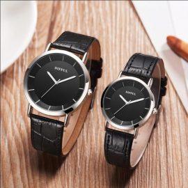 Ceasuri cuplu curea neagra Difful