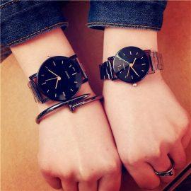 Ceasuri cuplu negre bratara metalica