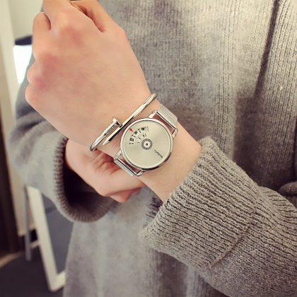 Ceasuri metalice cuplu cadran argintiu si negru ea