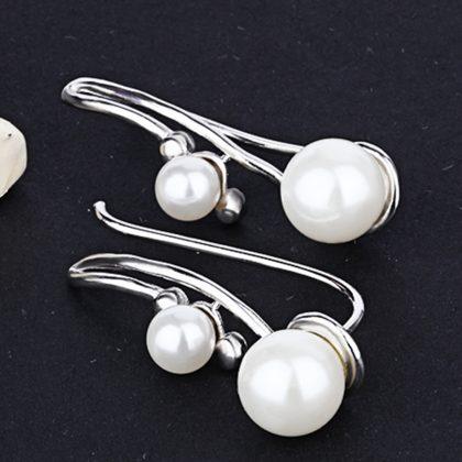 Cercei argint 925 perla dubla profil