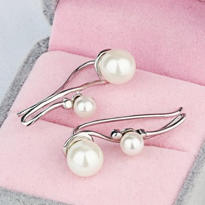 Cercei argint 925 perla dubla sus