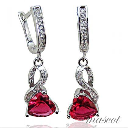 Cercei argint 925 zirconiu si cristal rosu
