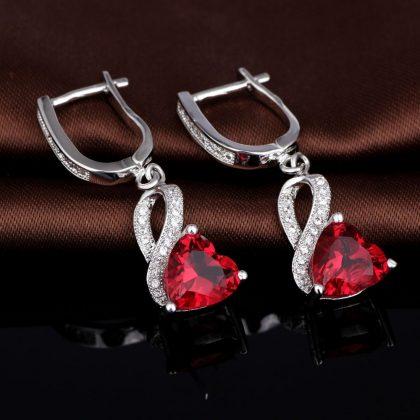 Cercei argint 925 zirconiu si cristal rosu sus