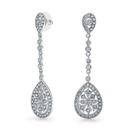 Cercei eleganti argint 925 zirconiu fata