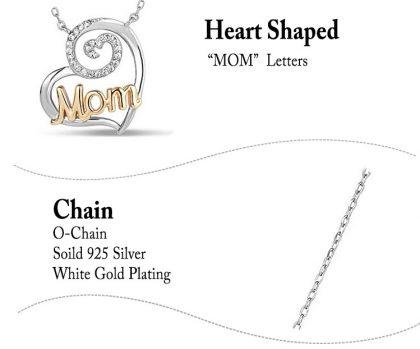 Colier argint 925 inimioara Mom detalii