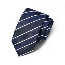 Cravata barbati bleumarin cu dungi albe