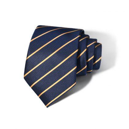 Cravata barbati bleumarin cu dungi galbene