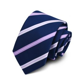 Cravata barbati bleumarin cu dungi mov