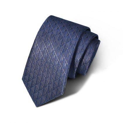 Cravata barbati bleumarin cu model Fleming
