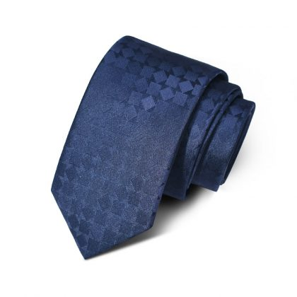 Cravata barbati bleumarin model geometric