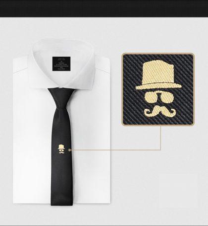 Cravata barbati neagra cu model moustache