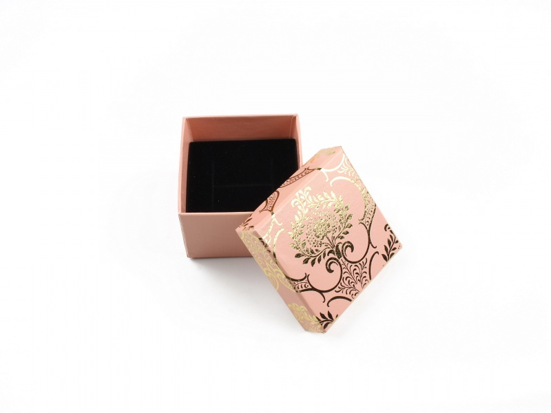 Cutie cadou inel/cercei roz model floral auriu