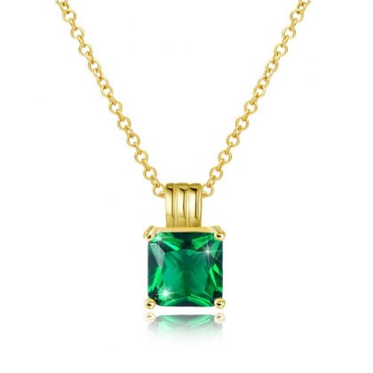 Lantisor placat aur cristal verde