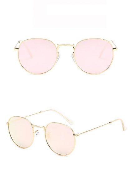 Ochelari de soare dama lentile roz rotunde detalii
