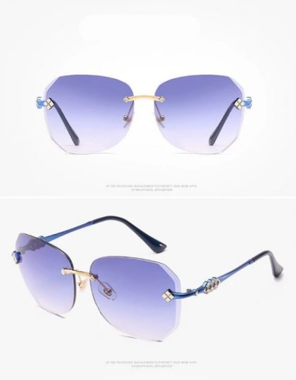 Ochelari de soare dama rame albastre Kim detalii