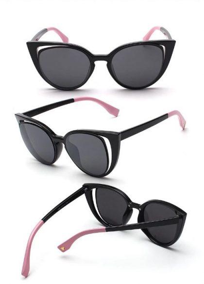 Ochelari de soare dama rame negre-roz detalii
