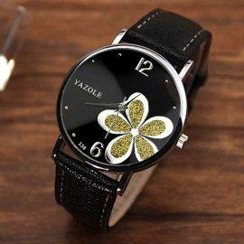 Ceas negru Yazole floricica verde