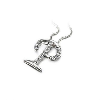 Colier argint 925 zirconiu initiala P sus