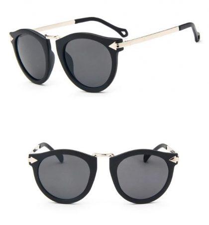 Ochelari de soare dama rama neagra argintie profil