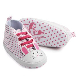 Pantofi fetite soricel albi-roz 0-6 luni