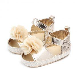 Sandale fetite floricica aurii 0-6 luni
