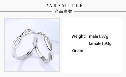 Inele cuplu argint 925 incrucisate zirconiu detalii
