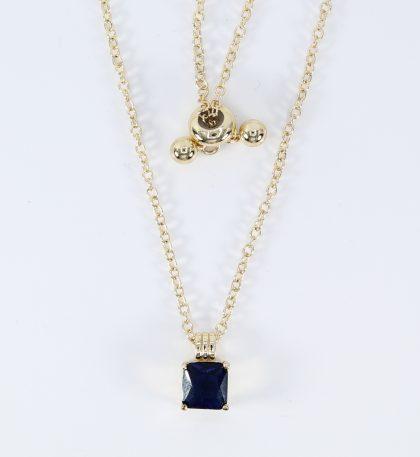 Lantisor placat aur cristal albastru detaliu