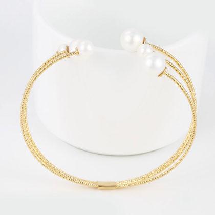 Bratara perle placata aur 18K fata