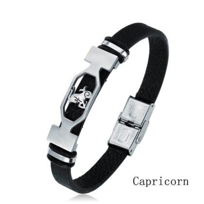 Bratara piele neagra zodia Capricorn
